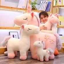 Милые плюшевые игрушки-единороги Детские игрушки чучело фигурки лошадей huggable Подушка, домашний декор Рождество подарок на день рождения для детей