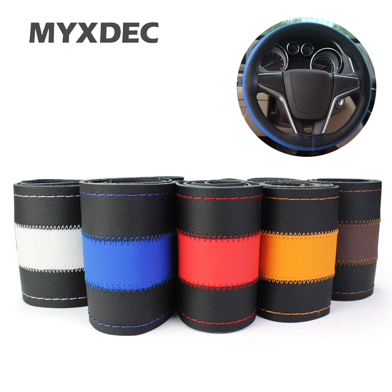 Hot Selling DIY Car Cowhide Genuine Leather Steering Wheel Cover With Hole Size 37-39cm White/Orange/Brown/Blue Car Accessories