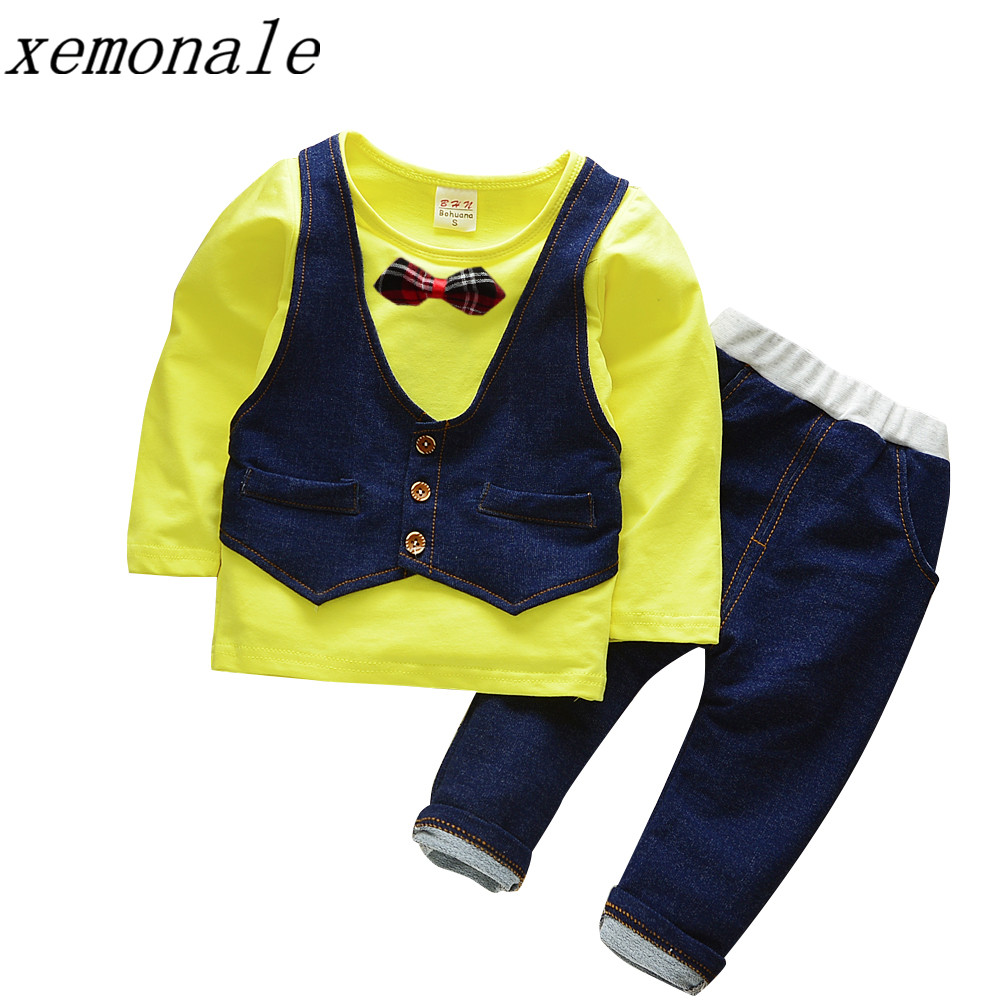 2017 Autumn Baby Boys Clothes Gentleman Style Male Children Kids Vest Tie T-Shirt Pants 2 Pieces Infant Cotton Suits