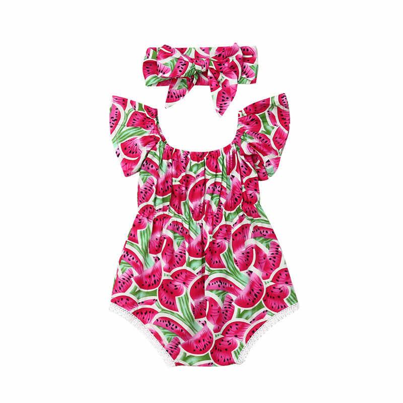 Pudcoco طفلة الملابس الوليد مولود جديد أكمام البطيخ الطباعة ارتداءها + الحلو عقال 2 قطعة وتتسابق