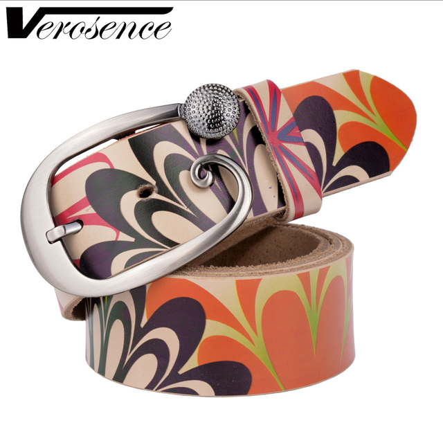 [TG] 2016 New ceinture woman belt real leather flower printed strap needle buckle casual style luxury female casual women belts