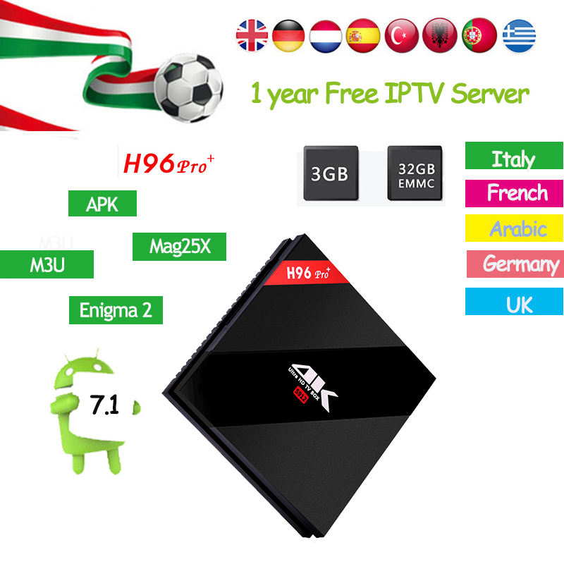 H96 PRO Plus Android 7.1 TV Box Amlogic S912+1 Year Europe IPTV Server for French Germany Italy Arabic Sports Channels IP TV Box