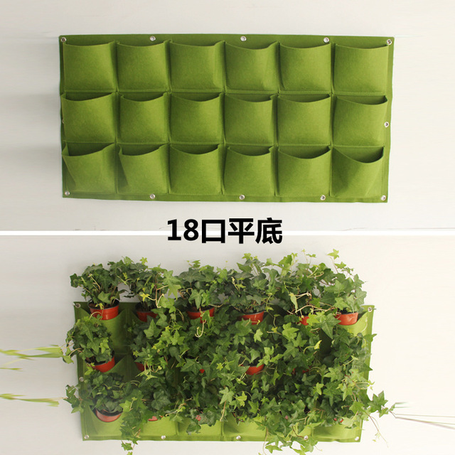 18 Pocket Garden Pots Vertical Garden Hanging Green Wall Planters Large  Plant Pot For Balconies 100cmX50cm