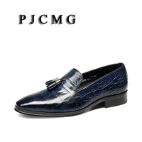 PJCMG New Fashion Comfortable Black/Blue Genuine Leather Elastic Band Pointed Toe Flat Man Casual Classic Gentleman Shoes