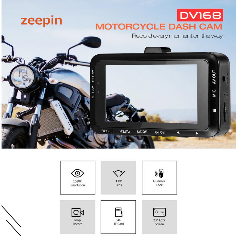 цены Zeepin DV168 1080P Motorcycle Dash Cam 2.7-inch 130 degree Dual Camera Driving Video Recorder with Front and Rear View Camera