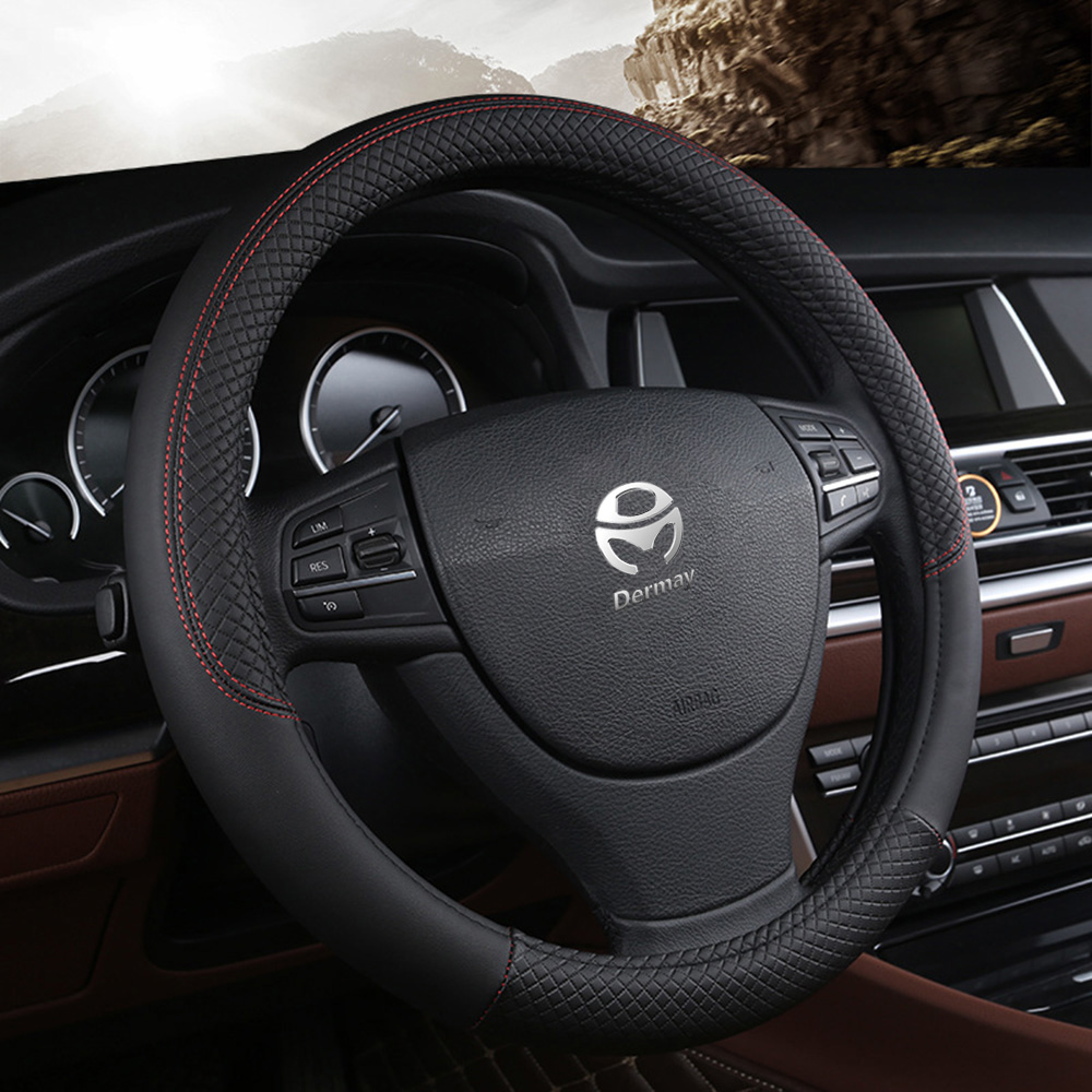Car Steering-wheel 37cm-38cm Leather Hand-stitched PU Leather Dermay Car Steering Wheel Cover Fit For Most Cars Styling