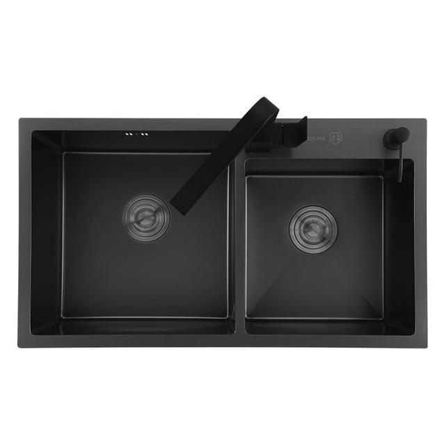 Black Kitchen Sink Double Groove 304 Stainless Steel /w Grid Accessory
