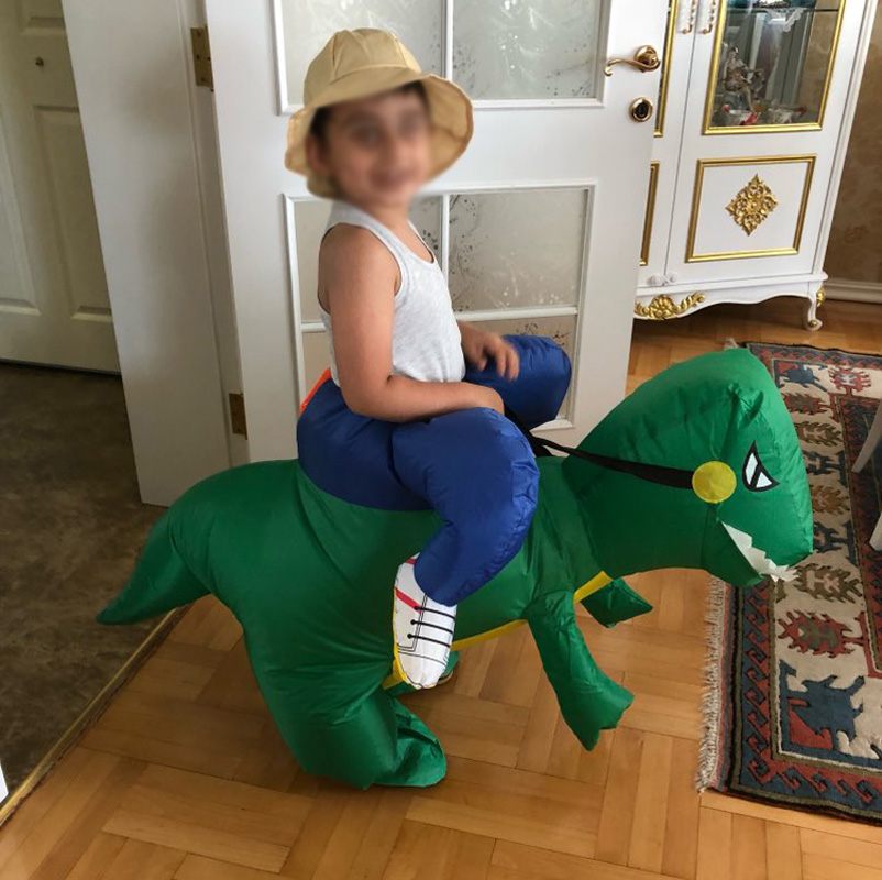 2017 Birthday Gift Boys Girls Toy  Inflatable Dinosaur Costume Children Size Dino Rider T-Rex Halloween Costume For Kids