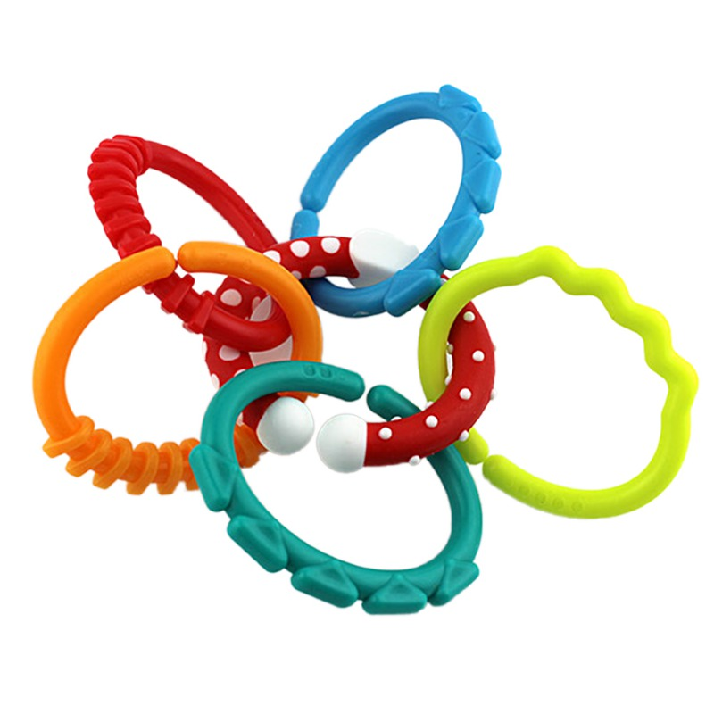 Newly Hot Sale 6Pcs/Set Toddler Toys Rainbow Circle Link Kids Newborn Teething Rings Stroller Hanging Toy Birthday Gifts Z1