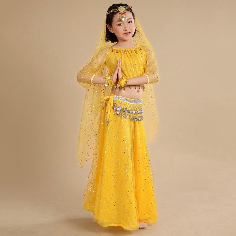 f36993822bf0 Bambini Vestiti di Danza Del Ventre Set Le Ragazze Vestiti Indiani per I Bambini  Danza Orientale Costumi Delle Ragazze di Danza in Costume per Bambino 5 ...