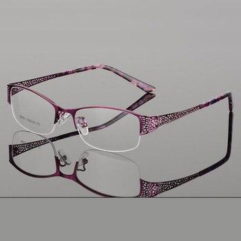 eb0481d71a329 Reven Jate Meia Óculos Sem Aro Frame Ótico Prescrição Semi-Aro Óculos de  Armação de óculos Para Óculos das Mulheres do Sexo Feminino