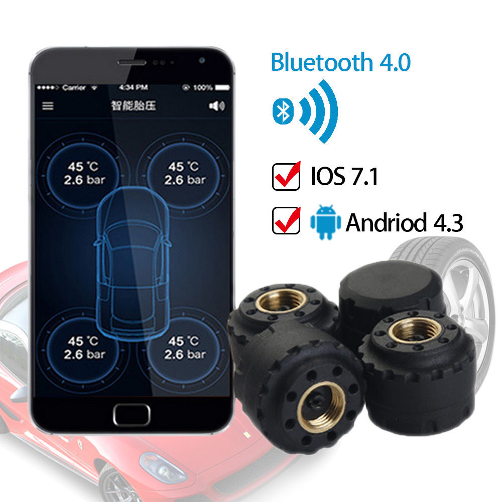 Bluetooth V4.0 Car Wireless TPMS Tire Pressure Monitor System External Sensor for SmartPhone Security Alarm System Tyre Pressure tpms tp620 car tire tire pressure alarm car tire diagnostic tool support bar and psi tire pressure monitor car electronics