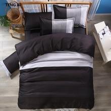 TENG BI brand hot stripe simple fashion design bedding set Reactive printing black purple design King Queen Full Twin szie