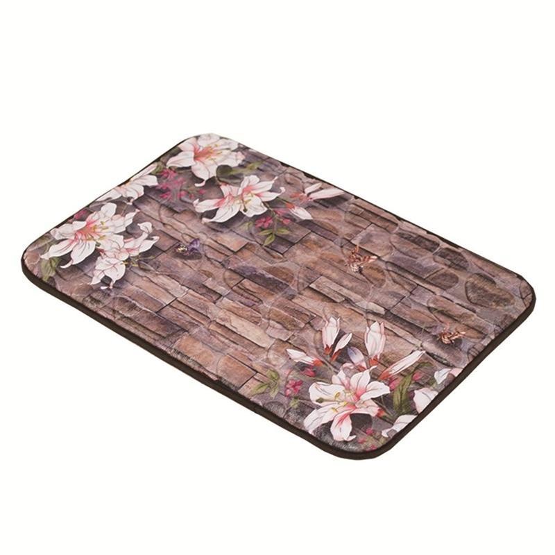 Soft 3D Pattern Bathmat Non-slip Bath Floor Mat Rugs Bathroom Kitchen Water-absorbing Carpet (Flower Tile Pebble)