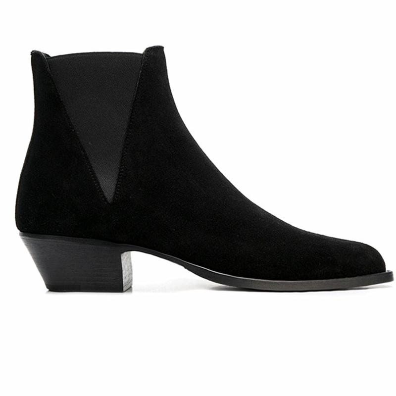 Elastic tightness triangle  patchwork suede  male boots  slim real picture wedge formal banquet black boots