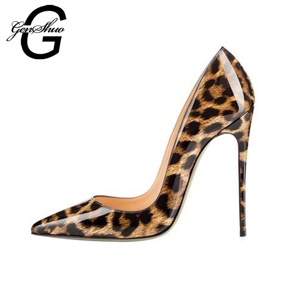 High Heels Shoes Women Leopard Print Sexy Pointy Toe Stilettos Women Pumps 10 12cm Party Heeled Designer Shoes Plus Size 11 12