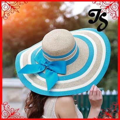 Мода женщины девушки подбора цвета полоса солнцезащитный крем соломенная шляпа с бантом леди лето чешские пляж шляпа солнца