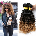 Grade 8a Brazilian Ombre Hair Extensions Deep Curly Virgin Hair 3pcs Three Tone Honey Blonde Ombre Deep Wave Human Hair Bundles