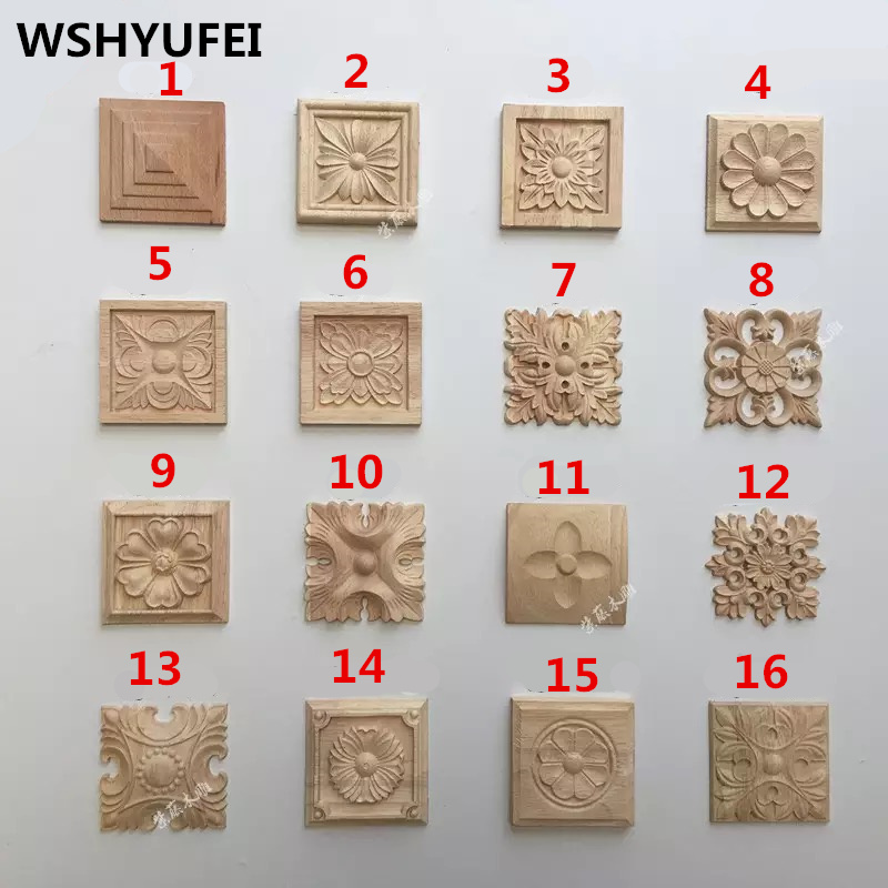 WSHYUFEI 8cmX8cm wood carving ornaments 15pcs lot home decoration furniture accessories factory production direct