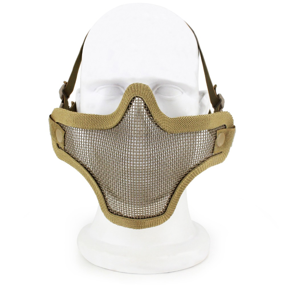 Airsoft Half Face Mask Adjustable Half Metal Tactical Mesh Mask War Game CS Accessories Protective Lower Mask Adult Breathable