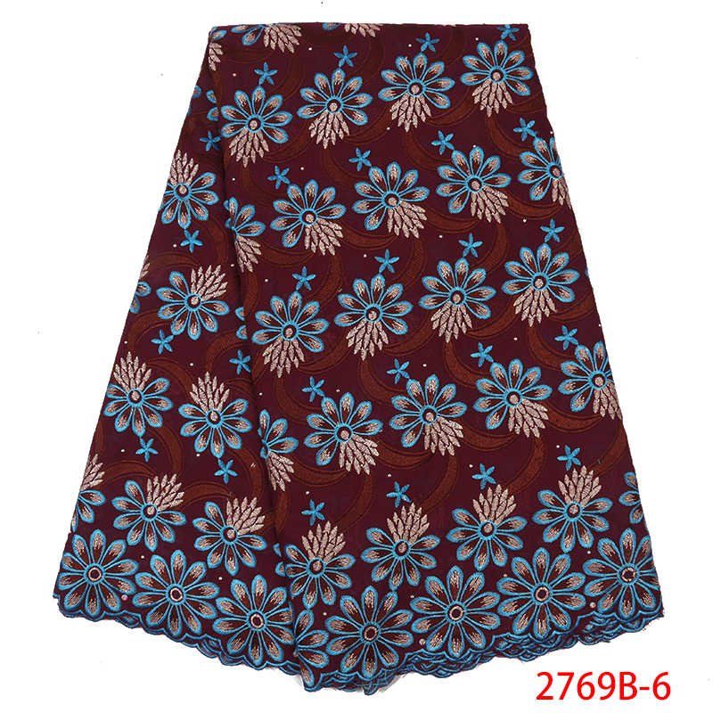 Swiss Voile Lace Fabric High Quality Cotton Lace Fabric Nigerian French Embroidery Laces With Stones For Women KS2769B-6