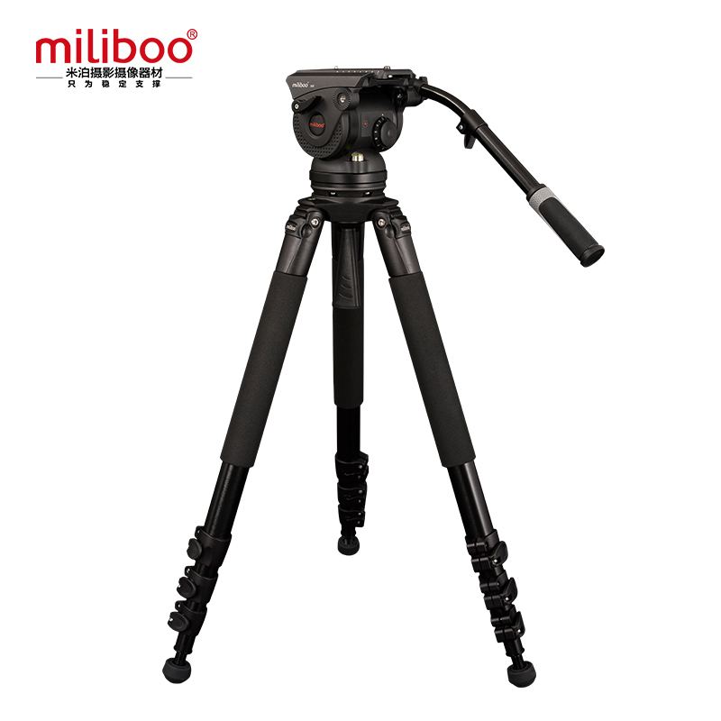 miliboo M8L Professional Broadcast Movie Video Tripod with Fluid Head Load 18 kg for Camera/ DSLR Camcorder Stand aluminium alloy professional camera tripod flexible dslr video monopod for photography with head suitable for 65mm bowl size