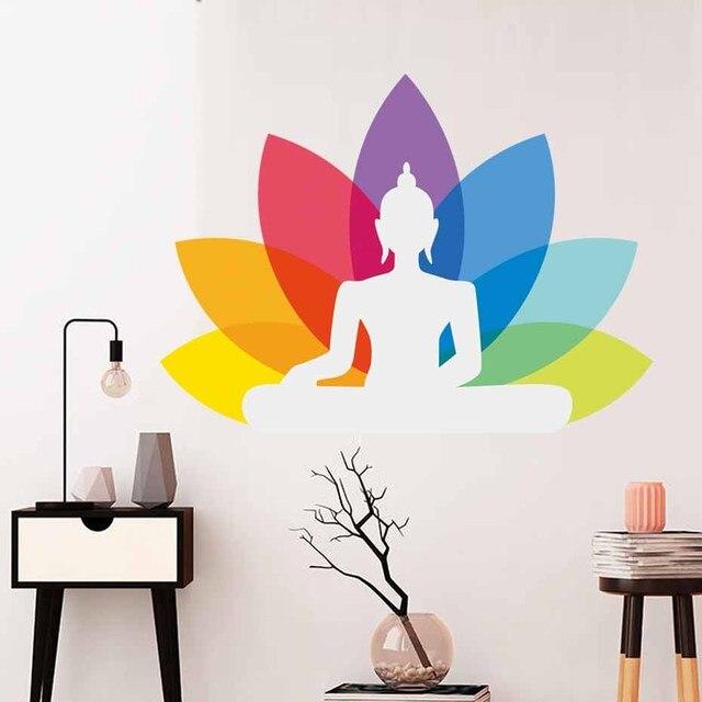 Vinyl Lotus Yoga Sticker Buddha Ganesha Wall Decal Art Design Indian  Religion Wallpaper For Bedroom Flower Mural Home Decor 14ff7717d