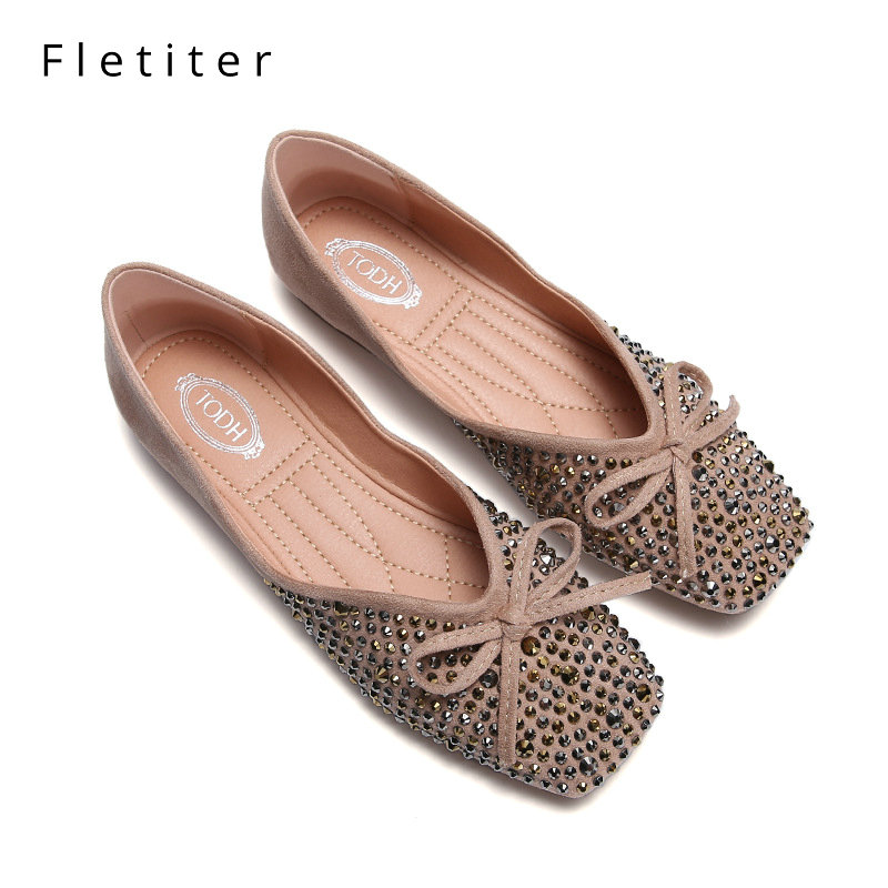 Fletiter Women Flat Shoes New Bow Tie Leather Casual Shoes