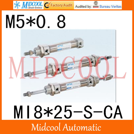 MI Series ISO6432 Stainless Steel Mini Cylinder  MI5*25-S-CA bore 8mm port M5*0.8 купить в екатеринбурге переходник mini iso