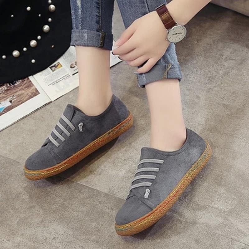 2018 Spring Causal Flat Women Shoes Special Lace Up Canvas Lady Shoes Comfort Slip On