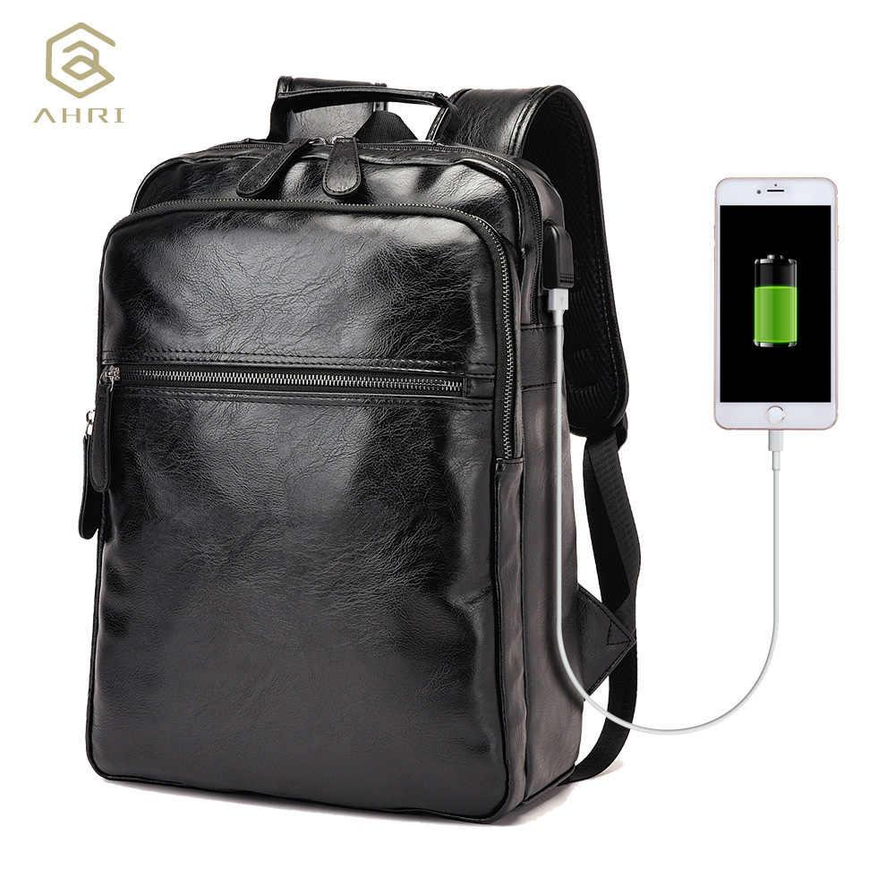 f0826ec5e2ba AHRI мужские деловые повседневные Рюкзаки для школы дорожная сумка черная  из искусственной кожи мужские модные сумки