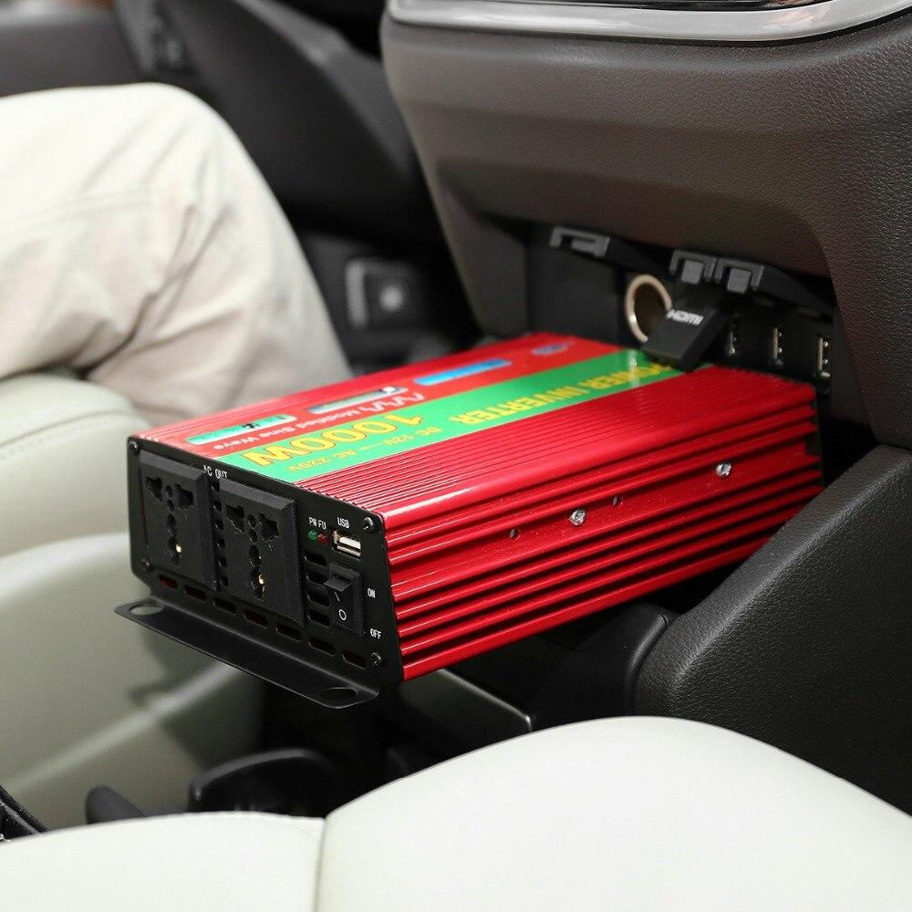 ФОТО 1000W Car Vehicle DC 12V to AC 220V Power Inverter Adapter Converter w/ USB Port / Dual Universal Socket - Red