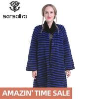 SARSALLYA Winter Women Mink Coat Real Mink Fur Coats Genuine Leather Coat Fur Mink Long Womens Rabbit Fur Jacket