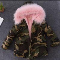 2017 New Fashion Winter Boy Girls Jackets Thicken Children Cotton Padded Clothes Europe Style Overcoat Fur