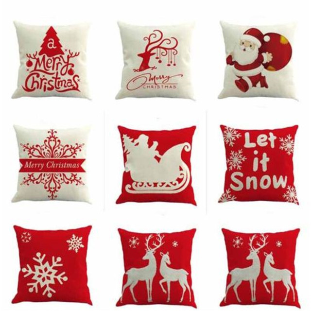 Christmas Style Cotton Linen Pillow Cover Case Cushion Covers Merry
