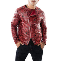 Red Darkstripe Leather Jacket Men Autumn Winter Obique Zipper Mens PU Leather Jackets and Coats Metal Hole Jaqueta Masculina XXL