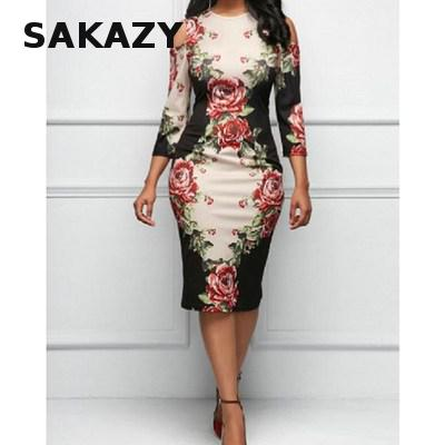 Rose Floral Print <font><b>Dress</b></font> Women Elegant Hollow Out Shoulder C <font><b>Dresses</b></font> Summer <font><b>Sexy</b></font> Party Plus Size White Vestidos De Festa image