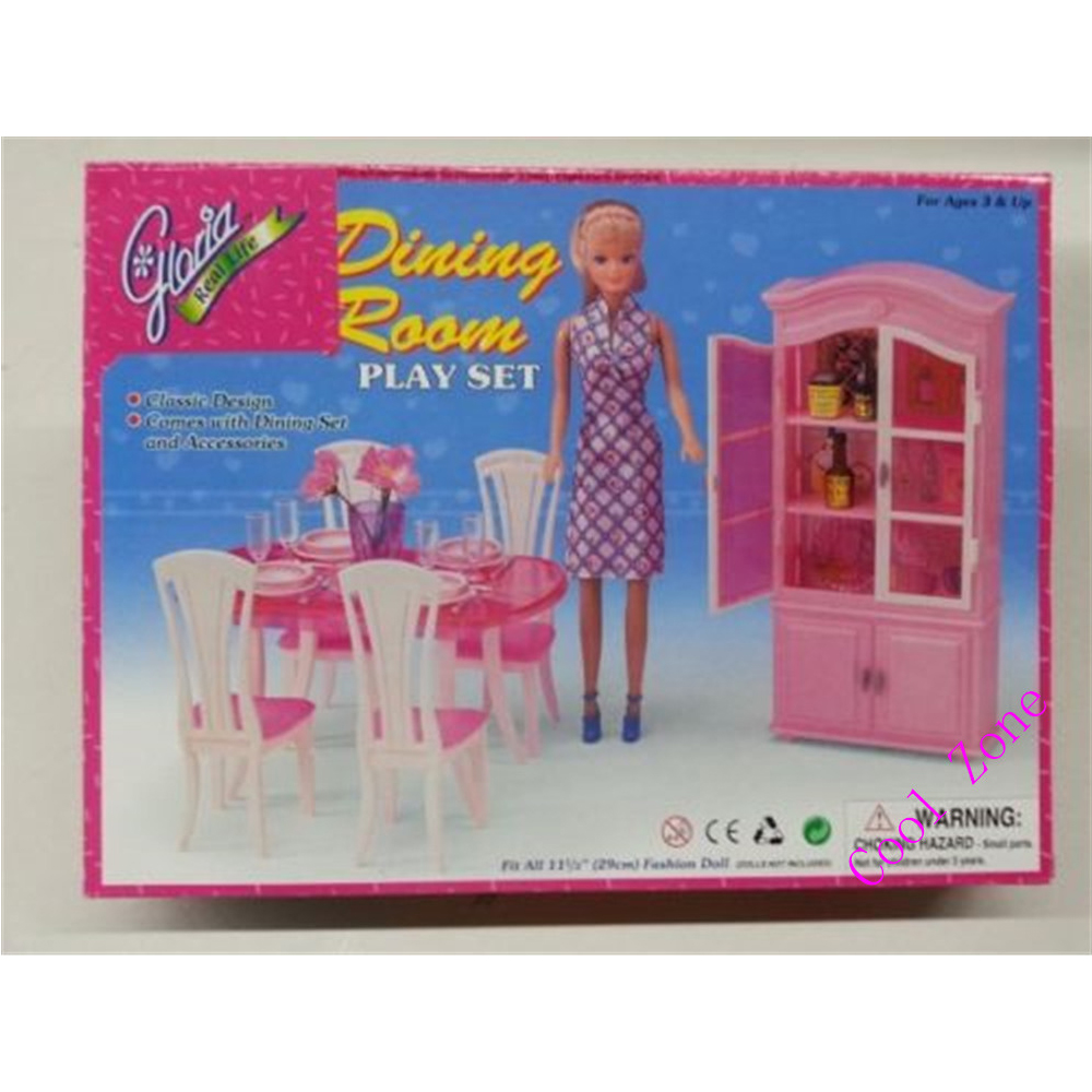 цена на Miniature Furniture Dining Room-C for Barbie Doll House Pretend Play Toys for Girl Free Shipping