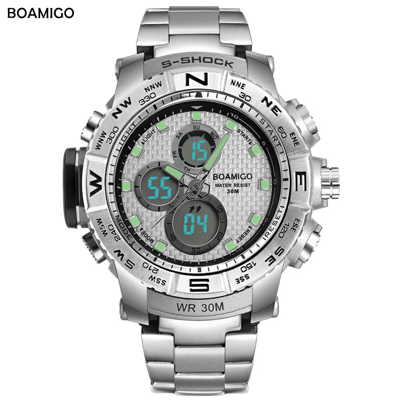 S-Shock Men Sportsure BOAMIGO Brand Analog Digital LED Elektronisk Quartz Watch Steel Band 30M Vandtæt Relogio Masculino
