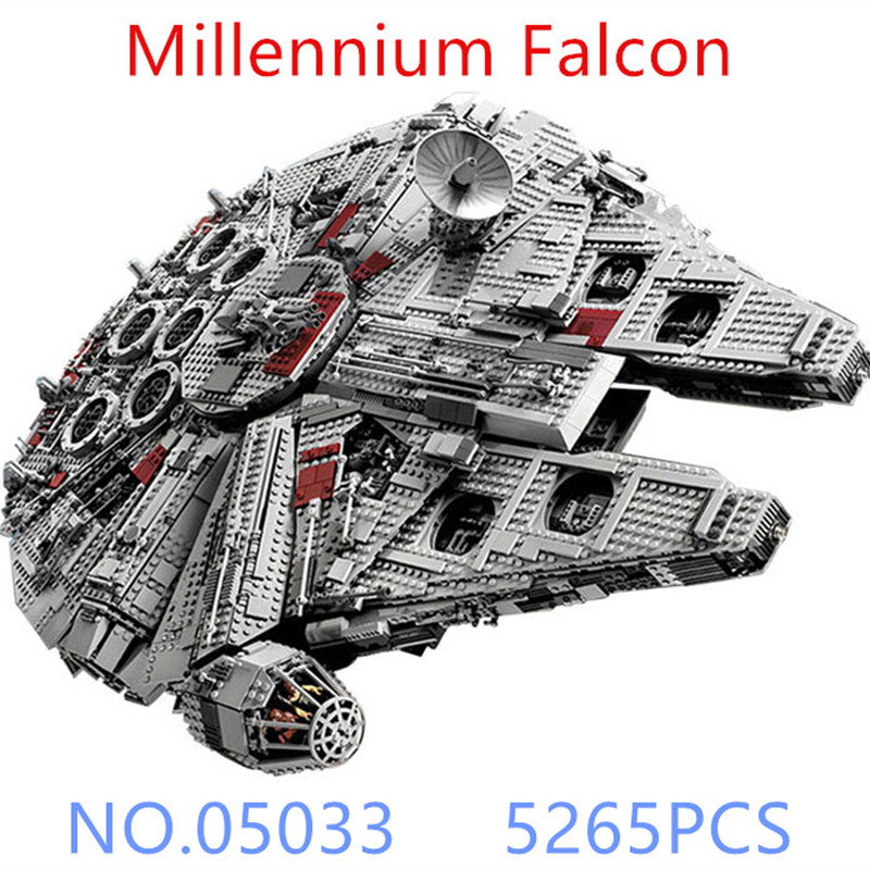 05033 5265Pcs Star Wars Ultimate Collector's Millennium Falcon Model Building Kit Blocks Bricks Toy Compatible  BOY GIFT new 5265pcs star wars ultimate collector s millennium falcon model building kits blocks bricks kids toys compatible with 10179