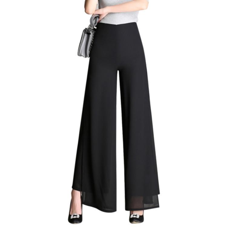 Plus Size 4XL High Waist   Wide     Leg     Pants   Black 2019 Summer Long Zipper Casual Office Loose Trousers Women Pantalon Femme