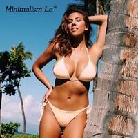 Minimalism Le 2018 Sexy Solid Bandage Bikinis Set Ruffle Backless Swimwear Bikini Halter Top Biquini Beach