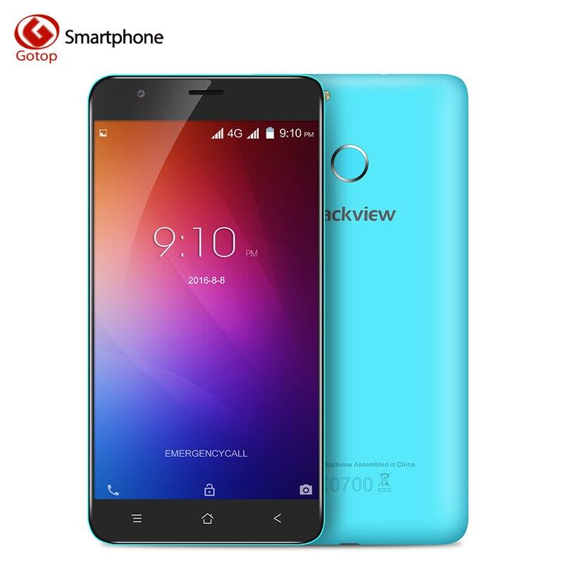 Цена за Blackview E7 Смартфон 5.5 Дюймов Android 6.0 MTK6737 Четырехъядерный Мобильный телефон 1 ГБ RAM 16 ГБ ROM 8.0MP 4 Г LTE Отпечатков Пальцев Сотовый Телефон