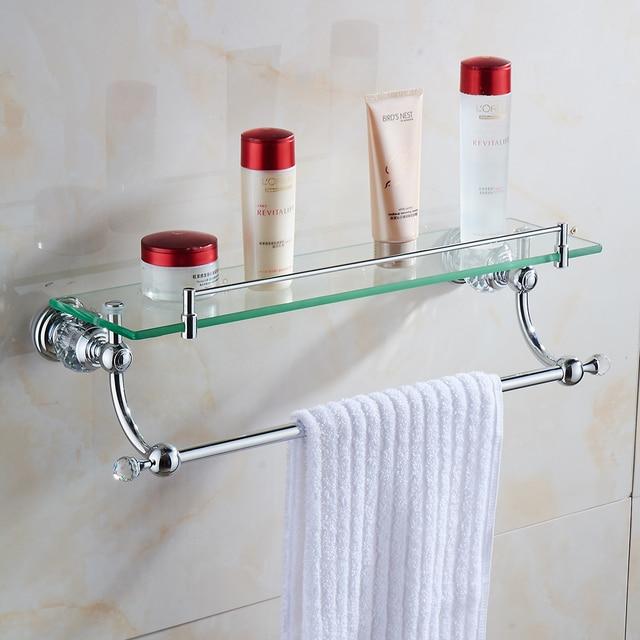 Bathroom Shelves Wall Mounted Crystal & Brass Bathroom Shelf Double ...