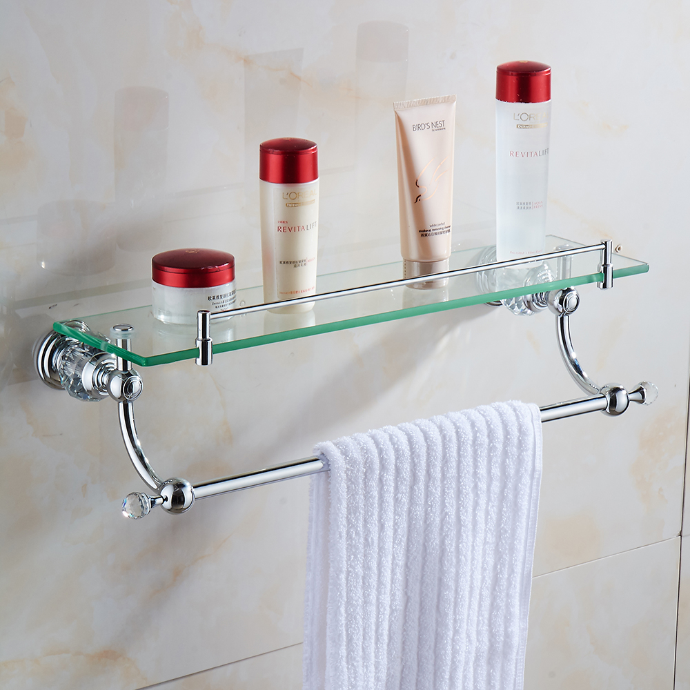 Bathroom shelves wall mounted crystal brass single tier - Bathroom accessories glass shelf ...