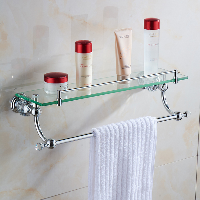 Bathroom Shelves Wall Mounted Crystal Br Single Tier Shelf With Bar Chrome Finish