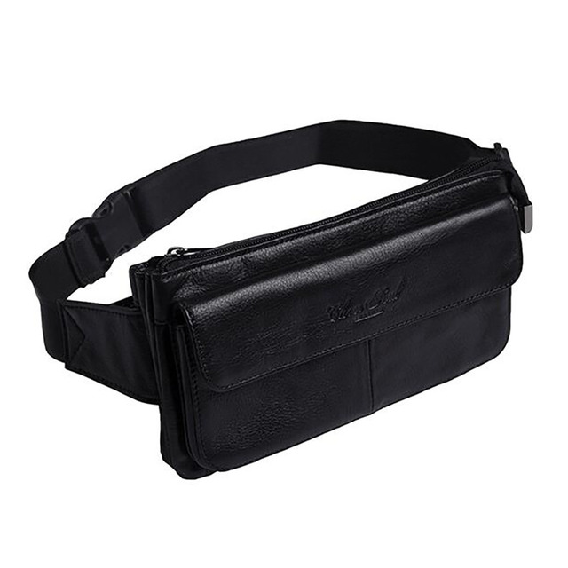 100% Genuine Leather Waist Bag For Men Travel Casual Cowhide Fanny Pack Loops Belt Cell Phone Case Cigarette Purse Hip Bum Bags