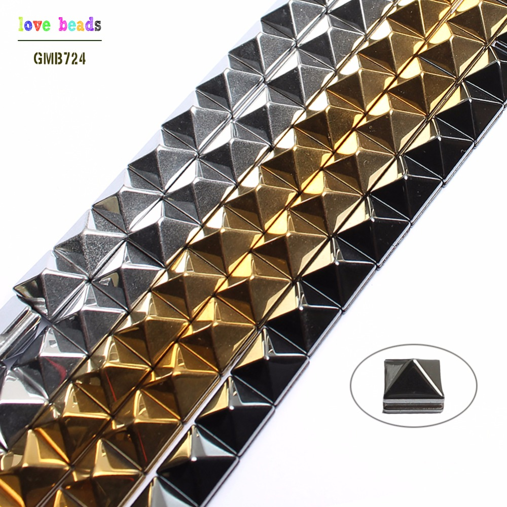 Natural Stone Beads Smooth Gold/Sivler/Black Plated Hematite Pyramid Shape Beads For Jewelry Making Beaded Diy Bracelet