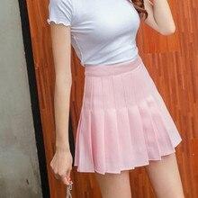 Юбка-плиссе, мини-юбка, Harajuku, консервативный стиль, каваи, женская сексуальная школьная форма Jupe Faldas, милые женские Saia