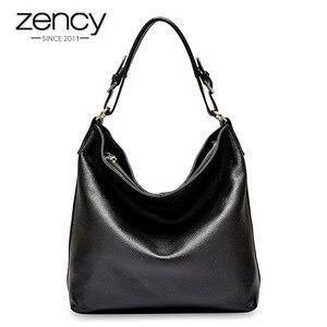 Image 2 - Женская Повседневная Сумка тоут Zency из 100% натуральной кожи, черная модная женская сумка мессенджер через плечо, элегантная сумка на плечо
